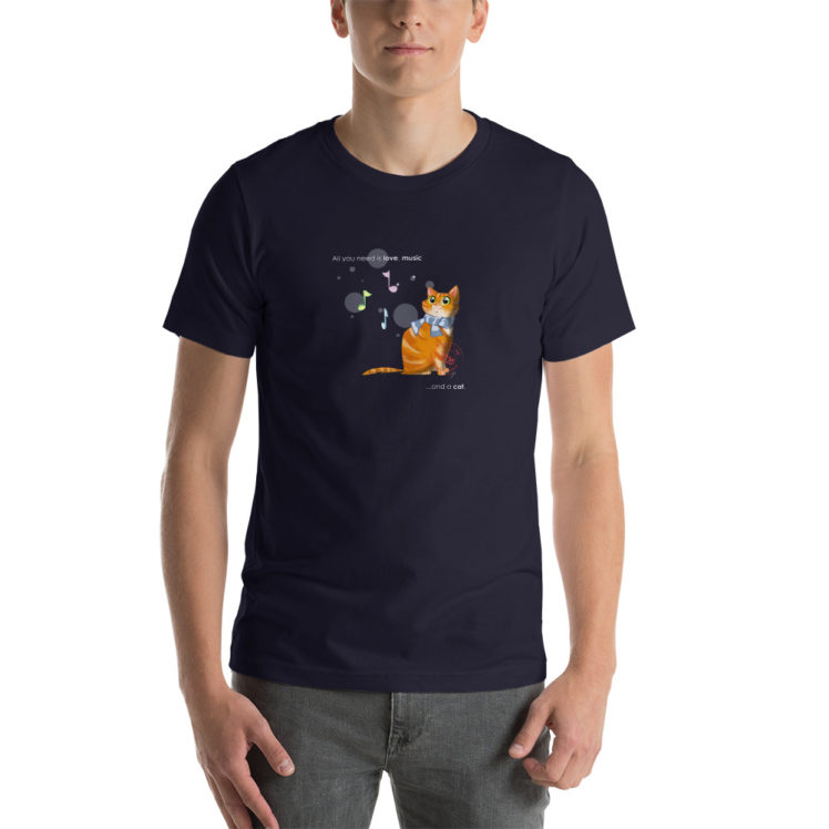 Cat love is forever  - T-Shirt - navy  - man - Newsontshirt
