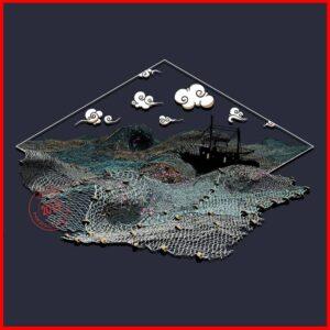 Ghost Nets - Artwork - Navy - Newsontshirt
